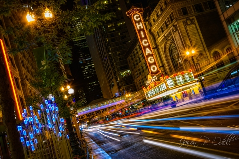 Usa Illinois Chicago Michigan Avenue Night Stock Photo | Getty Images