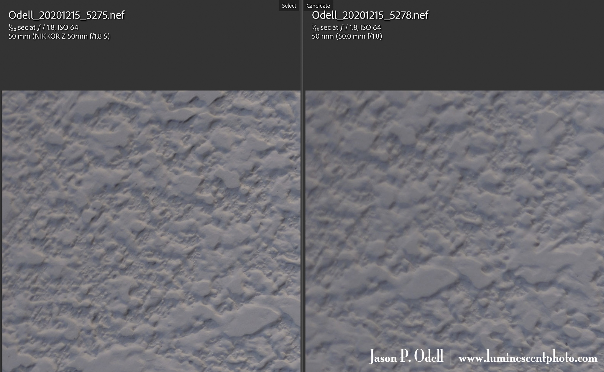 A comparison of corner sharpness between the Nikon 50mm f/1.8S and 50mm f/1.8G lenses.