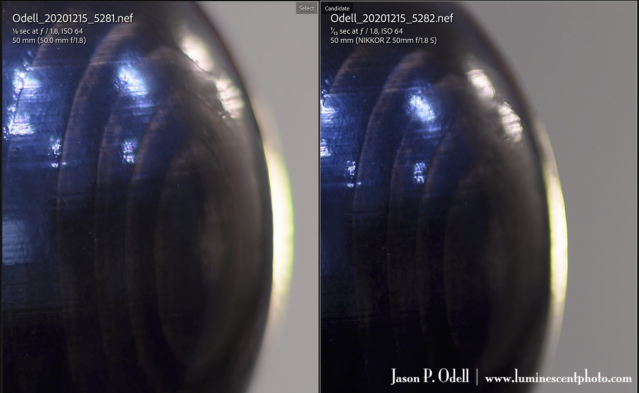 Comparison of chromatic aberration between Nikon 50mm f/1.8G and 50mm f/1.8S Nikkor lenses